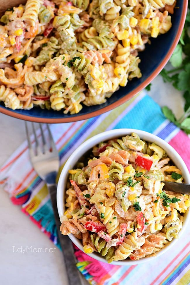 bowl full of Easy Taco Pasta Salad