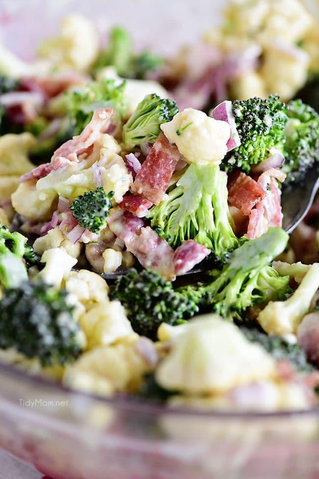 Broccoli Cauliflower Salad close up