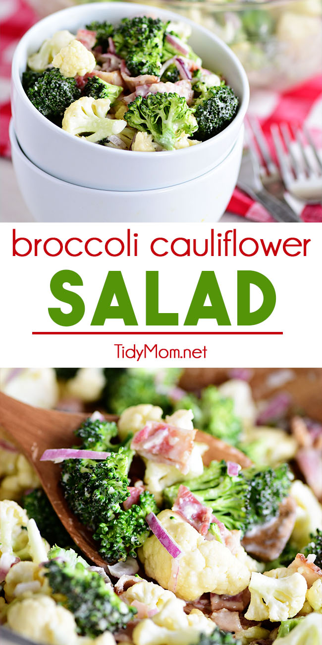 Broccoli Cauliflower Salad is a flavor-packed summer potluck favorite. With crunchy veggies and a creamy zippy sauce, this tasty salad stays crisp and fresh and can be made ahead of time. It pairs wonderfully with almost any dish, especially BBQ or chicken. Print full recipe at TidyMom.net