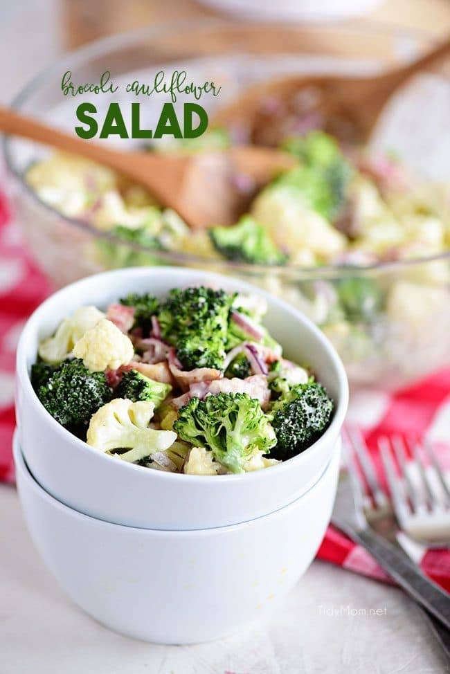 Broccoli Cauliflower Salad in bowls