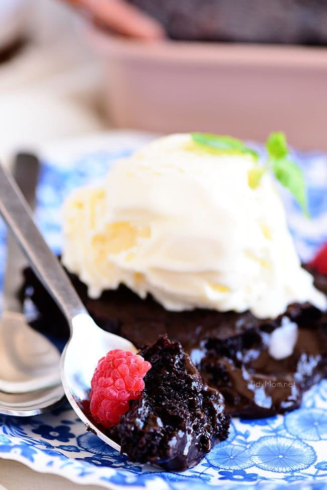 a bite of brownie cake on a plate topped with ice cream