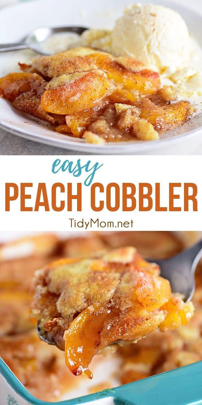 peach cobbler photo collage