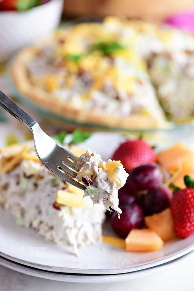 a bite of Pineapple Chicken Salad pie on a fork