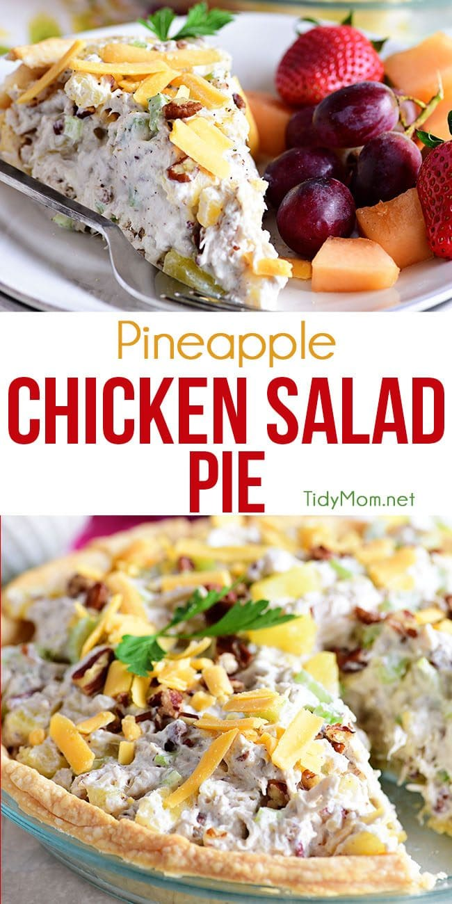 Pineapple Chicken Salad Pie photo collage