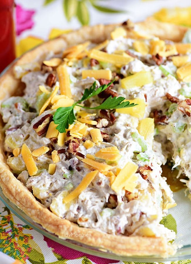 Pineapple Chicken Salad pie close up