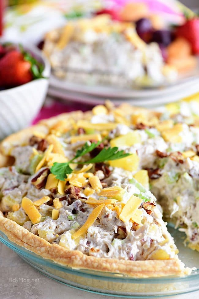 Pineapple Chicken Salad pie with one serving missing