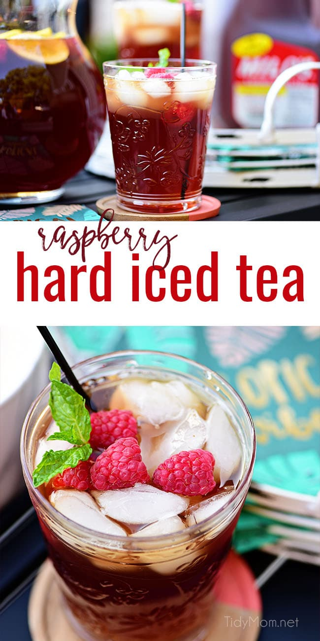 Planning some warm-weather entertaining? This Raspberry Hard Iced Tea Cocktail will become a perpetual party favorite. Mix in iced tea classics like raspberries, lemon, and mint along with a spike whiskey and you have the perfect porch sipping summer cocktail. Print full recipe at TidyMom.net #cocktails #cocktailrecipes #icedtea #whiskey #bourbon #summerentertaining #summercocktails