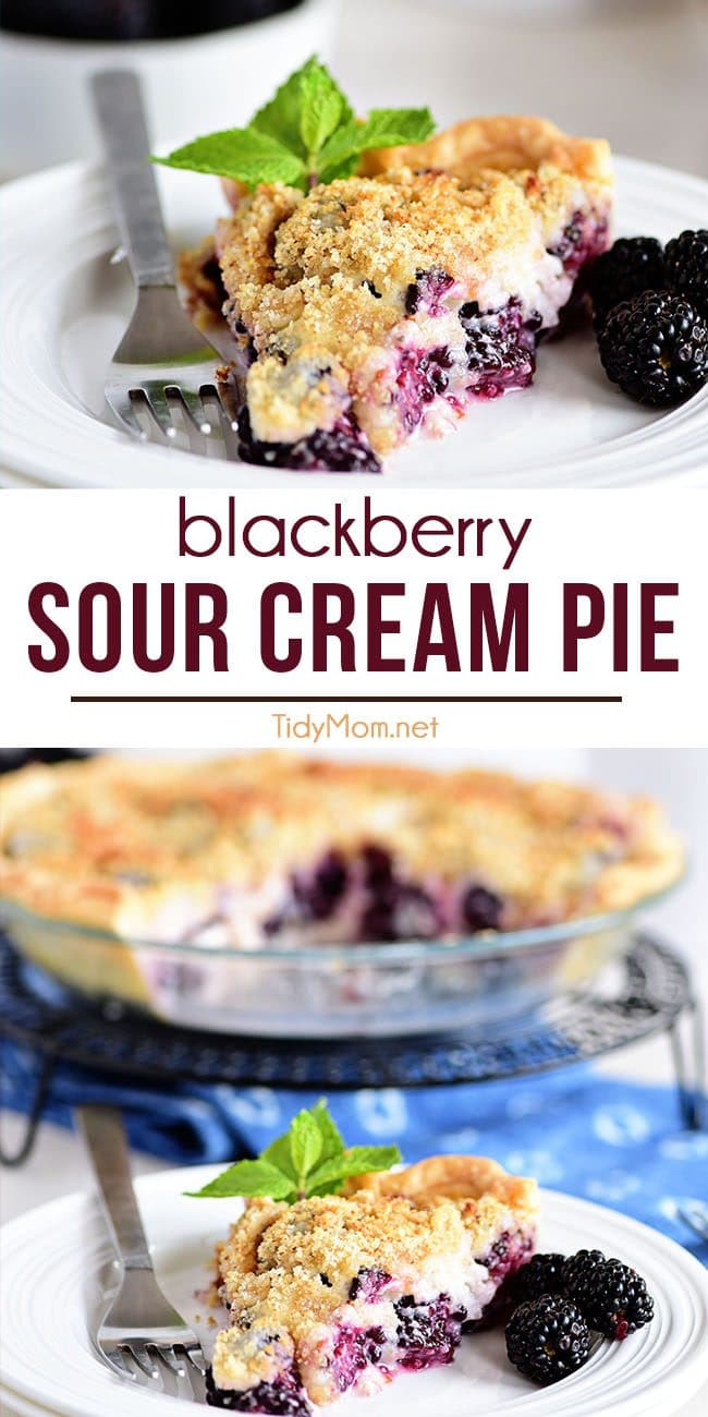 Blackberry Sour Cream Pie photo collage