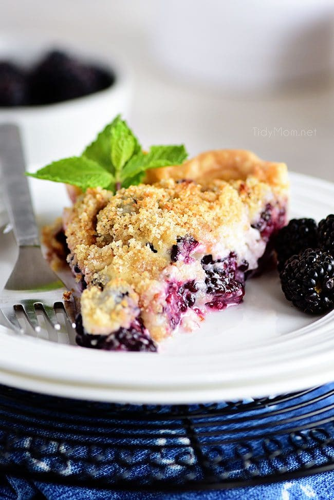 A serving of Blackberry Sour Cream Pie on a plate with a fork