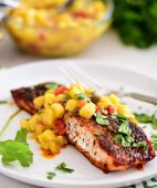 grilled blackened salmon topped with mango salsa