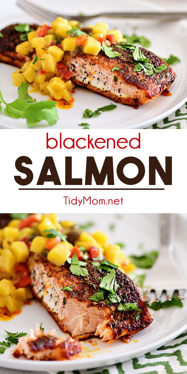 Blackened Salmon is seasoned to perfection for a cajun spiced crust. Prepared on the grill the tender and flaky salmon fillets are served with a sweet mango salsa that results in an irresistible meal that cooks in 10 minutes. Print recipe at TidyMom.net #salmon #salmonrecipes #blackenedsalmon #fishdinner #fish #dinner #dinnerrecipes