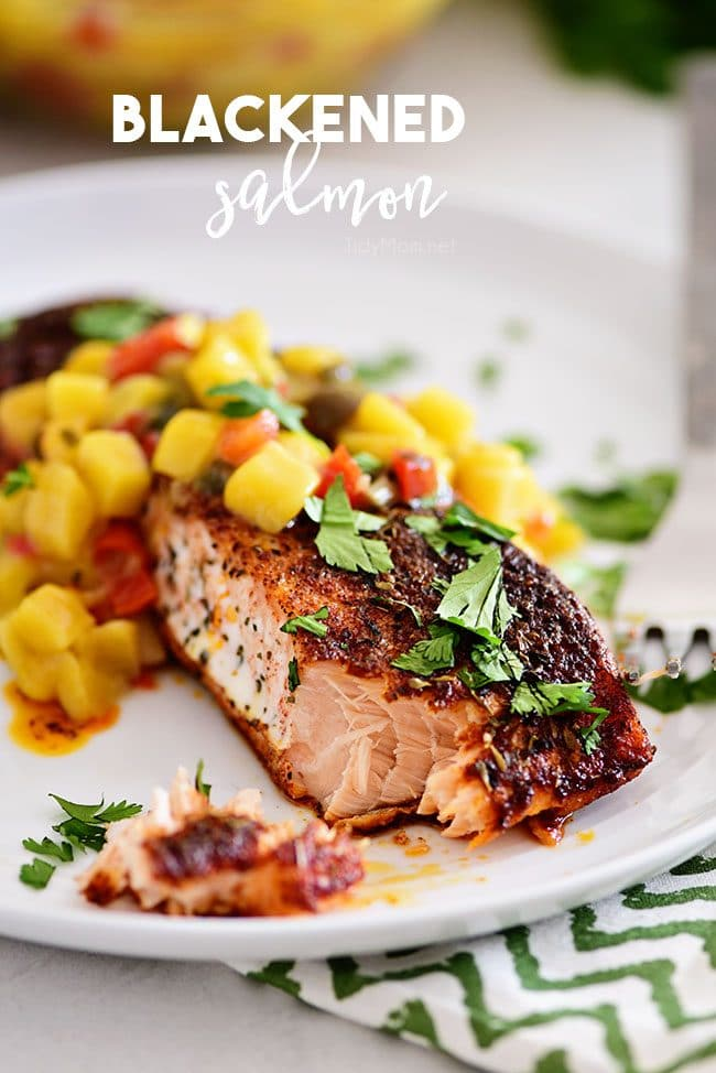 blackened salmon with mango salsa on a plate