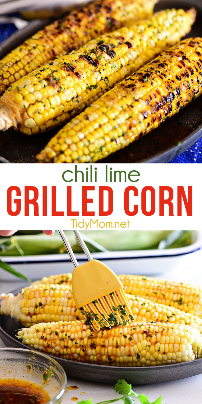 Warm weather and Grilled Chili Lime Corn On The Cob go hand in hand. Tart lime, spicy chili powder, and cilantro butter on sweet charred corn offer a vibrant flavor perfect for any BBQ. Print the full recipe at TidyMom.net #corn #cornonthecob #butter #chili #lime #summer #grilled #grilledcorn