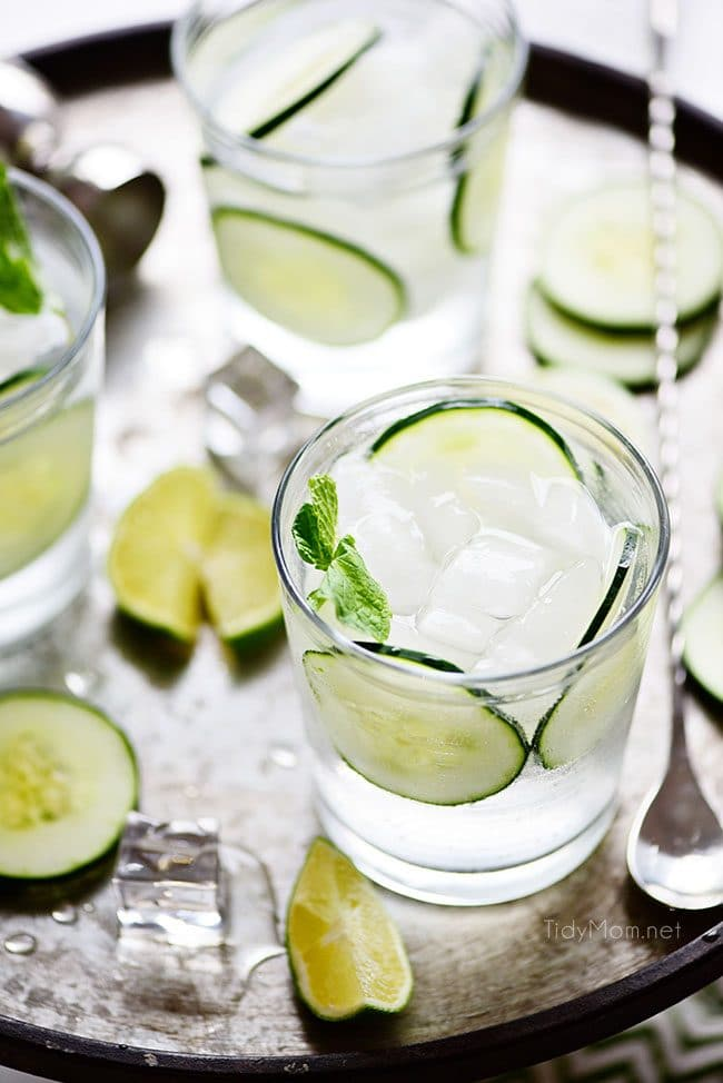 Cucumber Gimlet cocktails on a tray