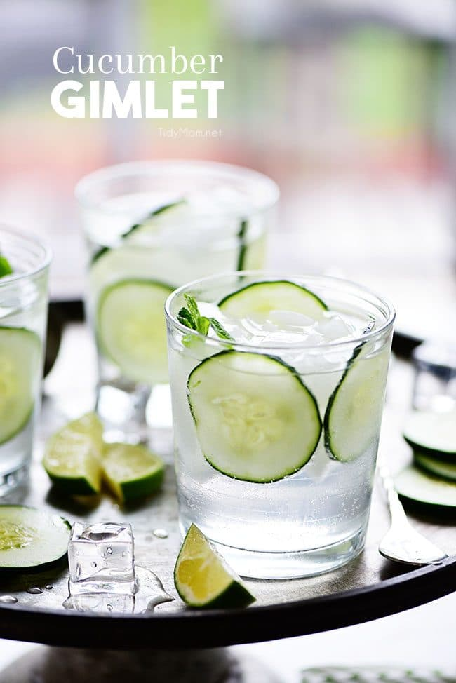 Cucumber Gimlet cocktails with fresh mint