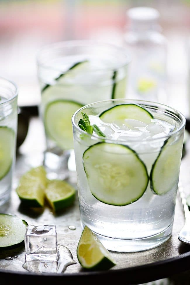 Three Cucumber Gimlet cocktails