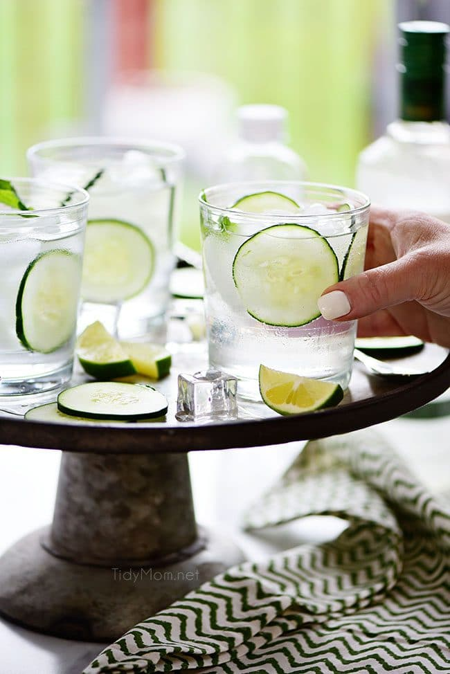 serving a Vodka Cucumber Gimlet cocktail