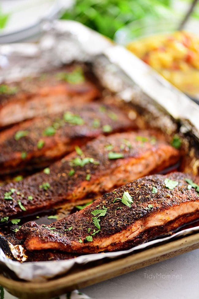grilled blackened salmon on a pan