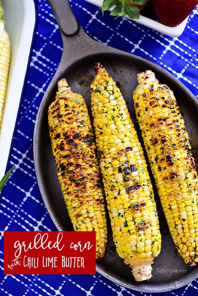 3 ears of grilled Chili Lime Corn On The Cob