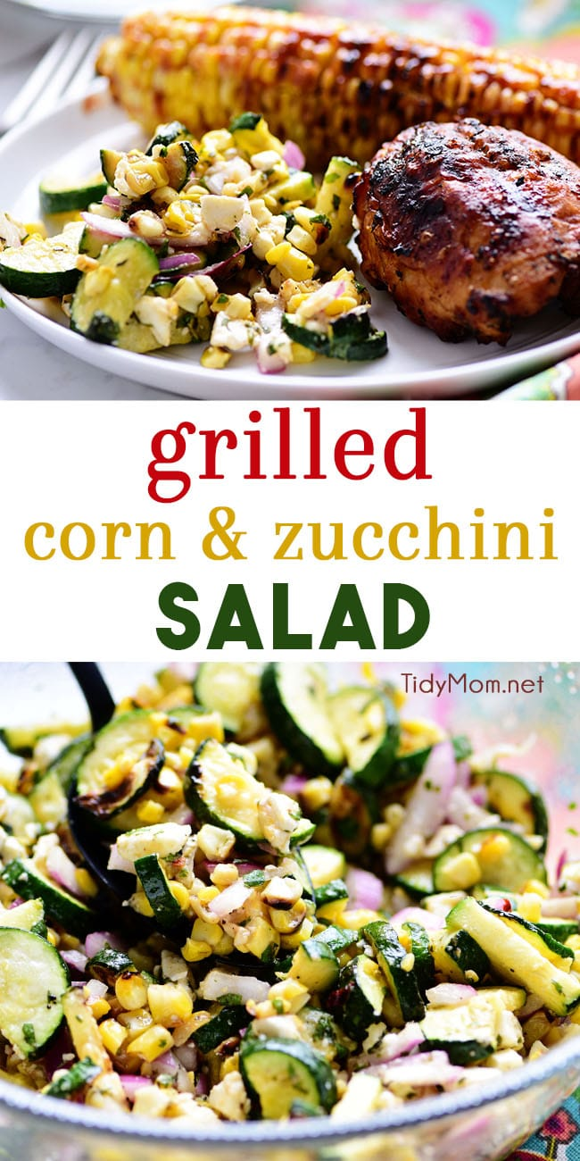 Grilled Corn and Zucchini Salad is a fresh summer side that goes well with anything off the grill. Full of flavor and lots of crunch make this summer salad a nice change from the classics like bean salad, slaw, and potato salad.  Print full recipe at TidyMom.net #zucchini #grilledcorn #salad #sidedish #roastedcorn #summer #summersidedish
