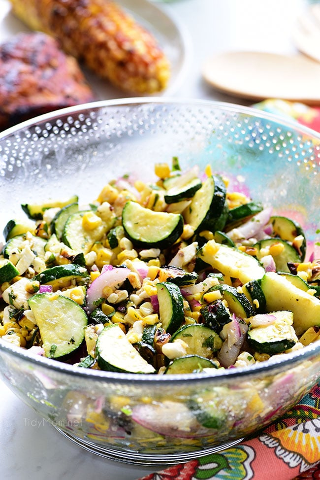 delicious grilled corn and zucchini salad in a bowl