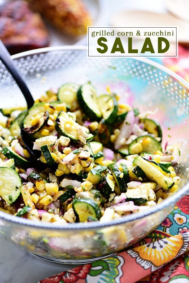 Colorful grilled corn and zucchini salad in a bowl