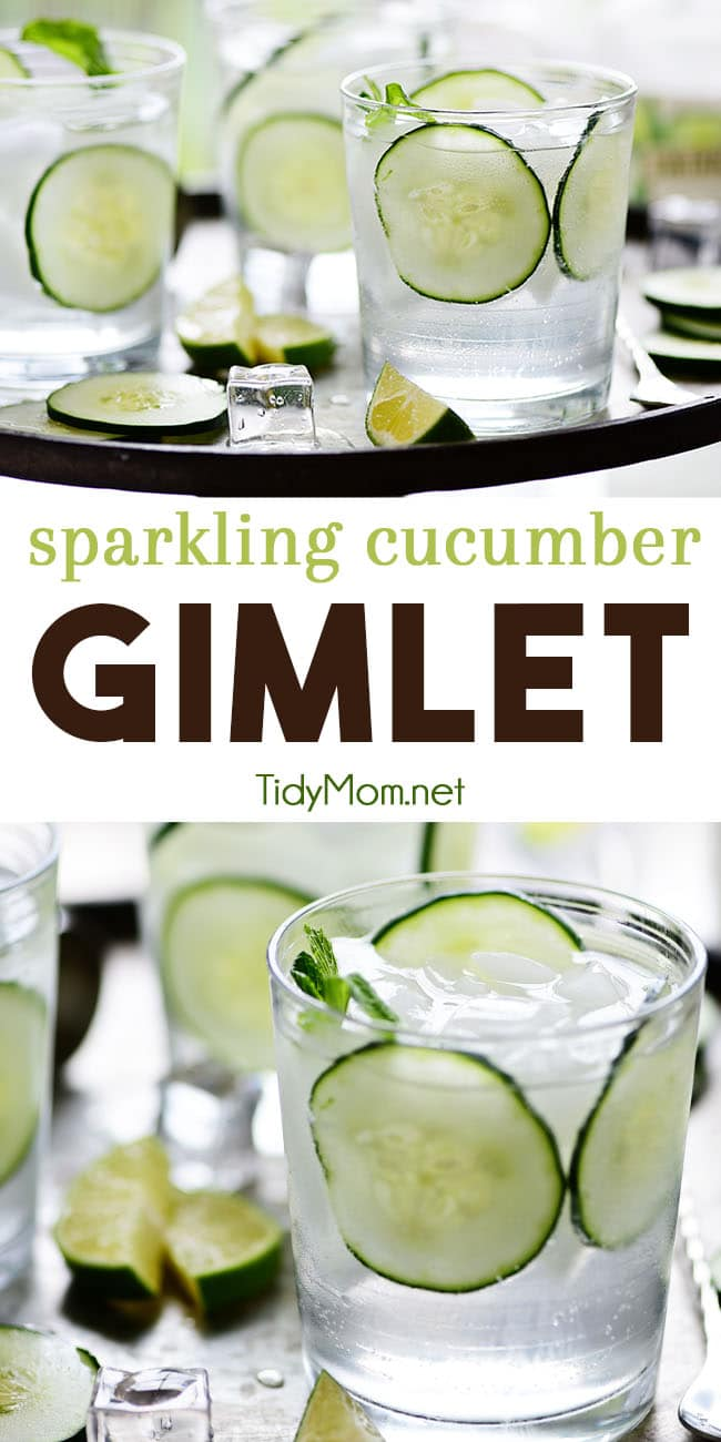 This fresh Sparkling Cucumber Gimlet, made with vodka, cucumber, sparkling water, and lime, is a classic cocktail with a twist. Perfectly crisp refreshing cocktail for weekend brunches, summer BBQs or Girls' night in. Print the full recipe at TidyMom.net  #cocktails #cocktailrecipes #gimlet #cucumber #vodka #vodkacocktails #summerdrinks #summercocktails