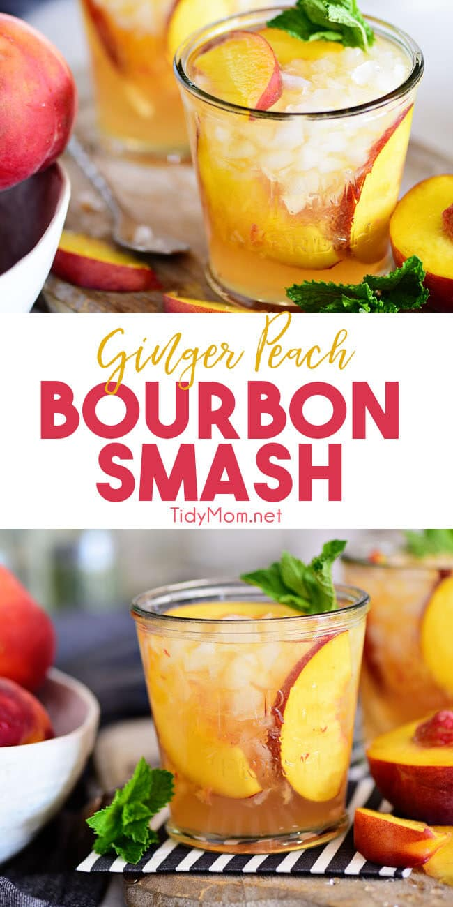 Ginger Peach Bourbon Smash cocktail photo collage