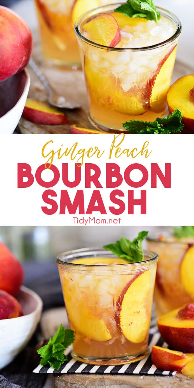 Fresh peaches, ginger beer, and bourbon come together in one light and refreshing summer cocktail. One sip of this Ginger Peach Bourbon Smash and you'll be flooded with summer memories. Print the full recipe at TidyMom.net #peachcocktail #peaches #cocktails #cocktailrecipes #bourbon #whiskey #bourboncocktails #whiskeycocktails #gingerbeer