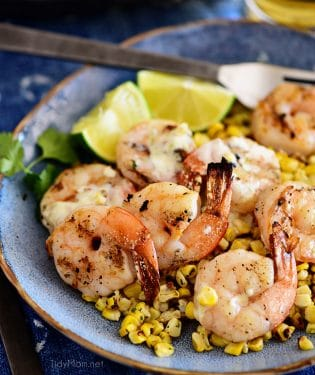 Quick and Easy Shrimp Bowl with Roasted Corn and a creamy lime vinaigrette