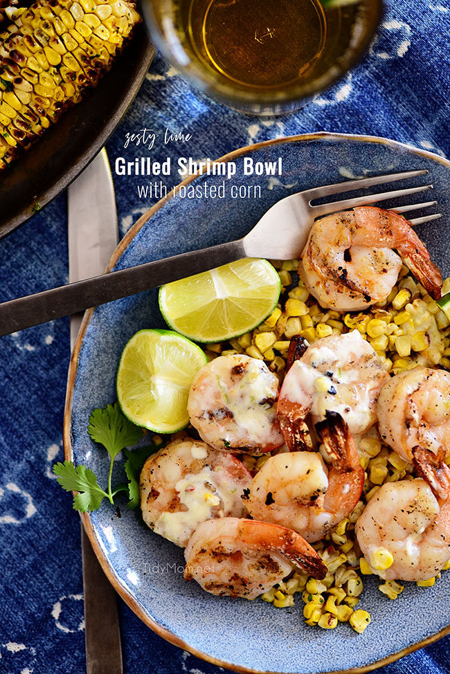 Quick and easy Zesty Shrimp Bowl with Roasted Corn and a creamy lime vinaigrette