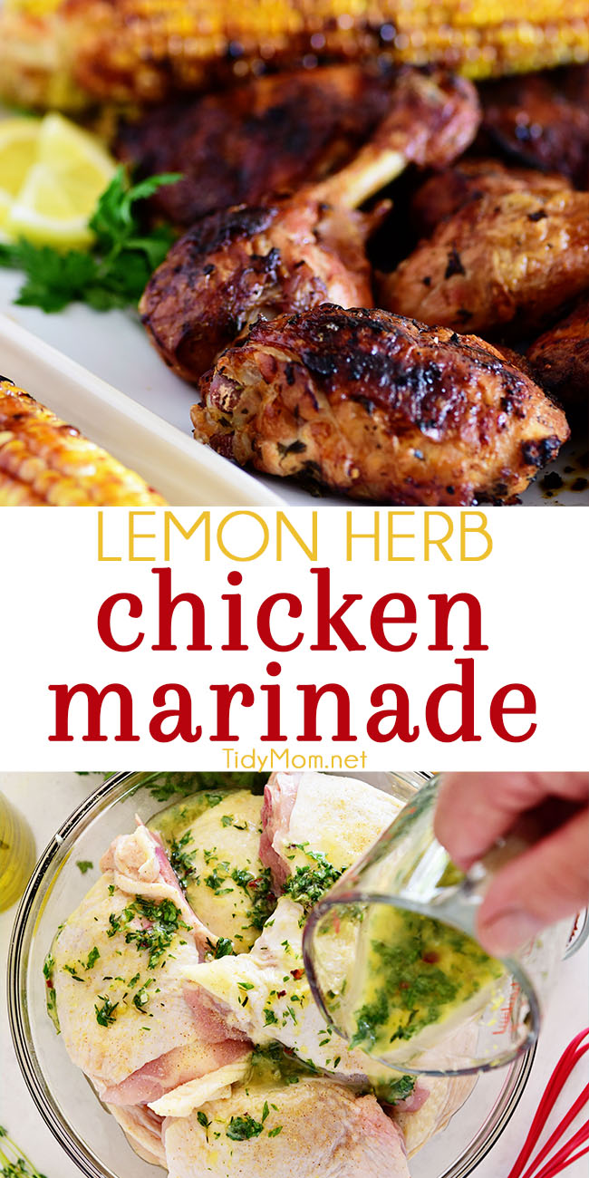 Prepare this easy lemon herb chicken marinade earlier in the day and enjoy delicious chicken hot off the grill for dinner!  #marinade #marinaderecipes #chicken #chickenrecipes #grilledchicken #chickendinner #lemon