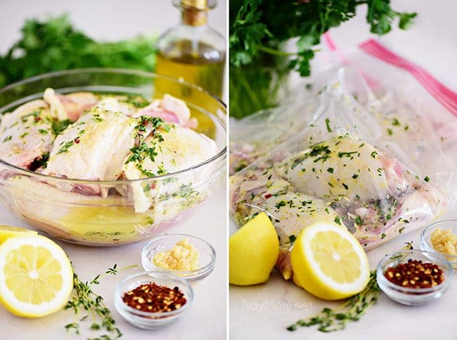marinating chicken in easy lemon herb chicken marinade