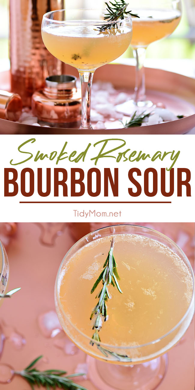 The perfect mix of smoked rosemary, sweet lemonade and the warmth of bourbon makes this Bourbon Sour Cocktail perfect for entertaining or just kicking back. Print the full recipe at TidyMom.net #bourbon #bourboncocktails #cocktails #cocktailrecipes #whiskeysour #lemonade #rosemary