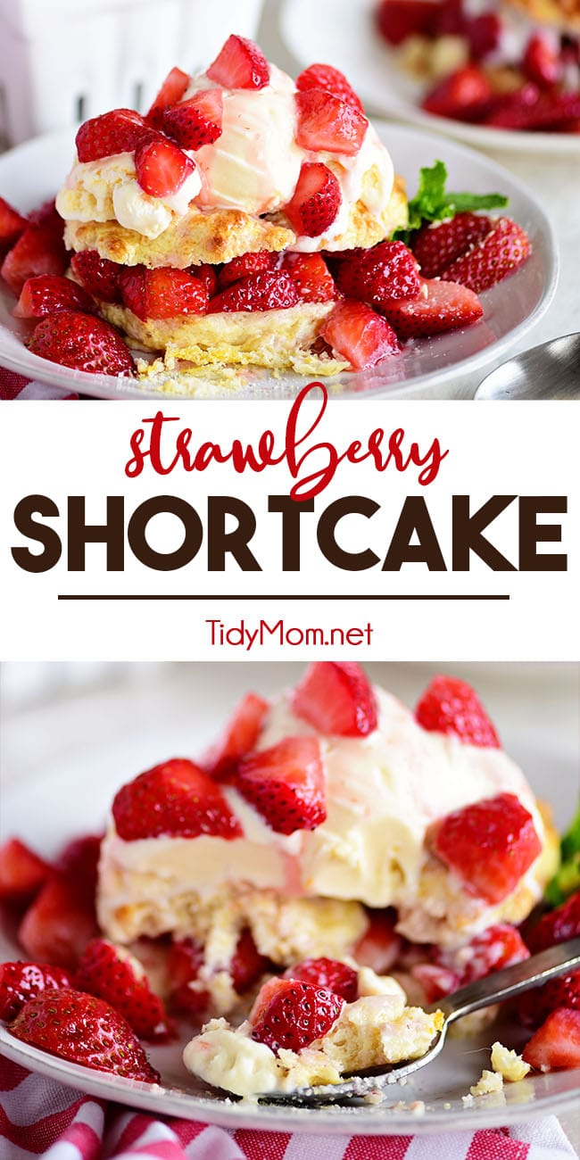 Nothing says summer like Strawberry Shortcake. Fresh sweet strawberries piled high on a sweet homemade buttermilk biscuit and topped with vanilla ice cream. What more could you ask for in a summertime dessert?!  Print the full recipe at TidyMom.net #strawberry #shortcake #dessert #biscuits #summer #homemade #fromscratch #summerrecipes #summerdesserts #strawberryshortcake