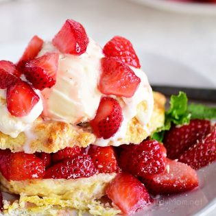 Strawberry Shortcake with vanilla ice cream