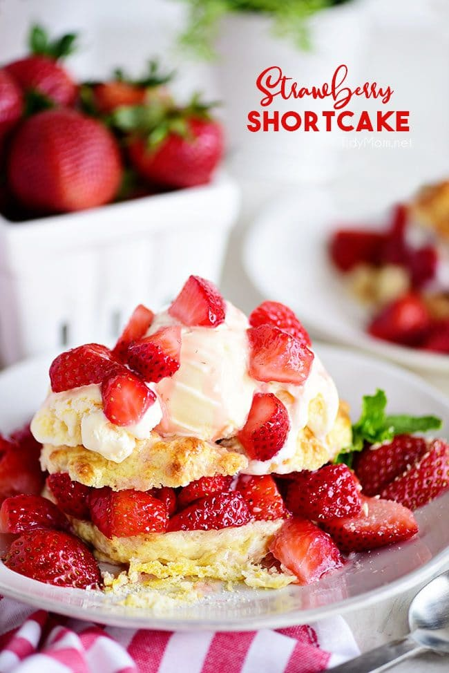 Strawberry Shortcake on a plate and topped with ice cream