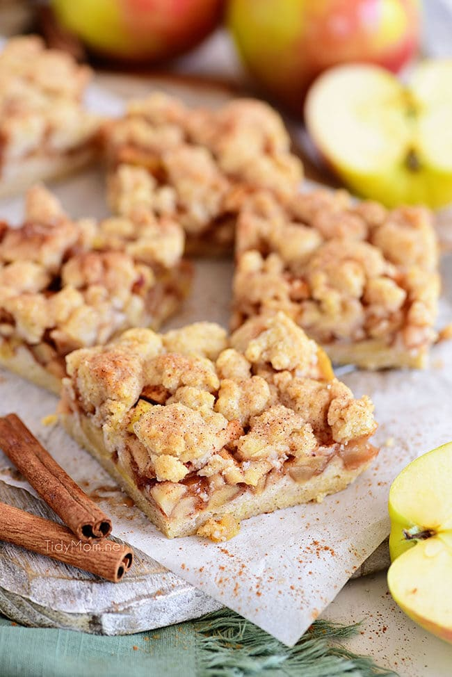 Apple Pie Bars cut into square servings