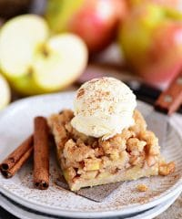 Apple Pie Bars with a scoop of ice cream
