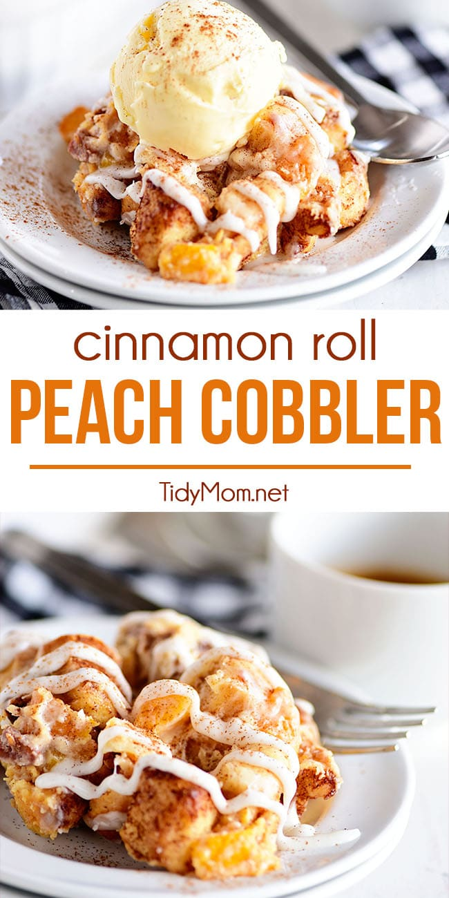 This easy Cinnamon Roll Peach Cobbler is made with fresh or frozen peaches, sweetened cream cheese, toasted pecans, and pre-made cinnamon roll dough. Topped with a vanilla glaze, making it a quick and easy breakfast casserole or top with ice cream for dessert.  Print full recipe at TidyMom.net #peaches #cobbler #peachrecipes #breakfast #casserole #cinnamonrolls #easydessert