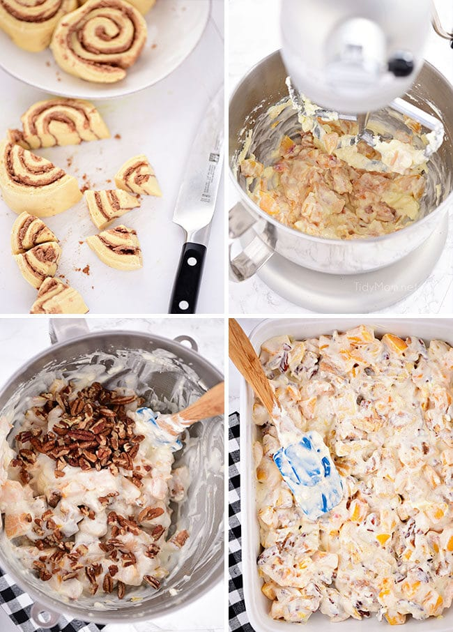 Cinnamon Roll Peach Cobbler recipe steps