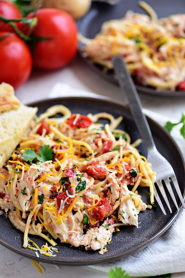 Creamy One-Pot Chicken Spaghetti on a plate with a fork