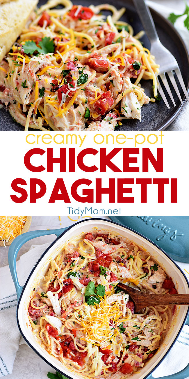This creamy and cheesy Chicken Spaghetti makes perfect use of a rotisserie chicken and one pot, resulting in a super-easy dinner that will satisfy even the pickiest eaters. Print the full recipe at TidyMom.net #spaghetti #chicken #chickenrecipes #dinner #dinnerrecipes #easydinner #easydinnerrecipes