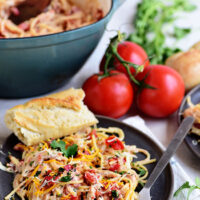Cheesy One Pot Chicken Spaghetti