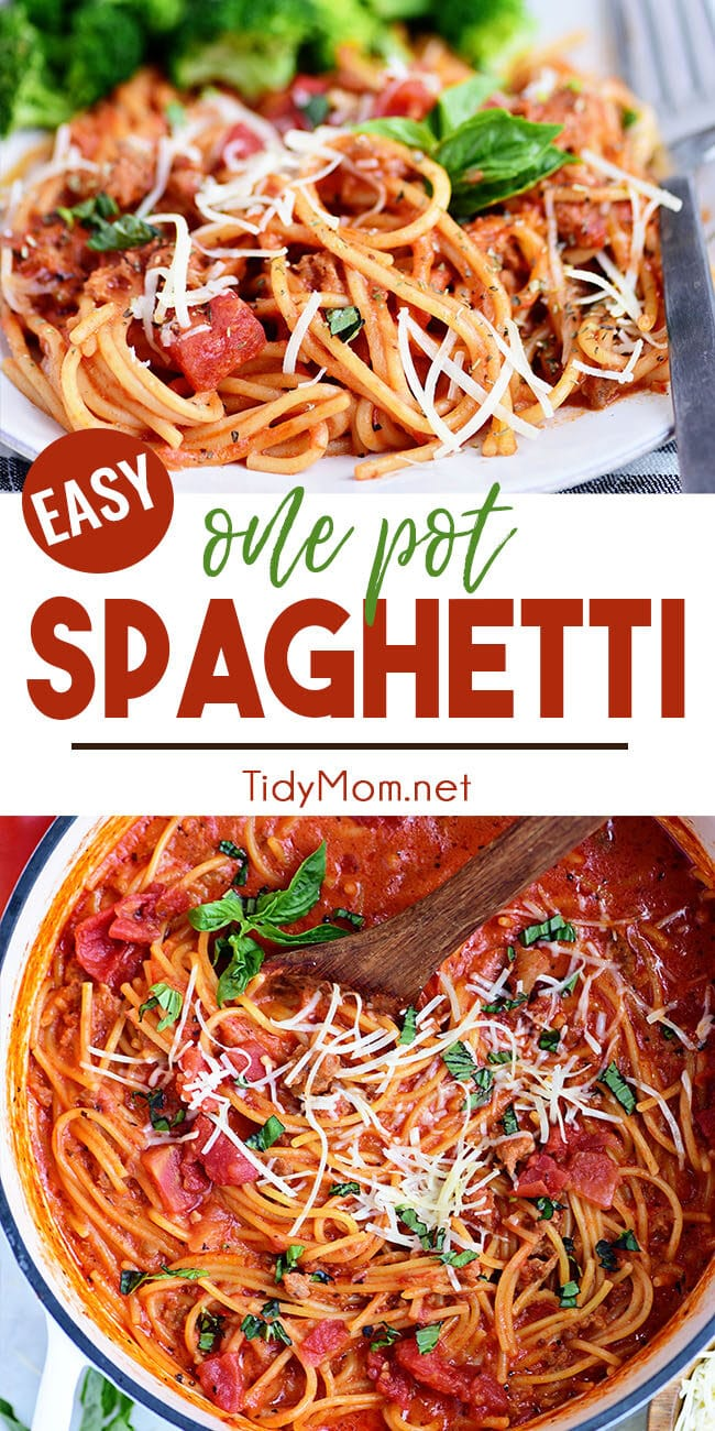 Easy One-Pot Spaghetti recipe photo collage
