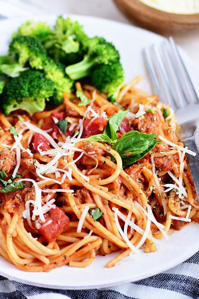 a plate of Easy One-Pot Spaghetti