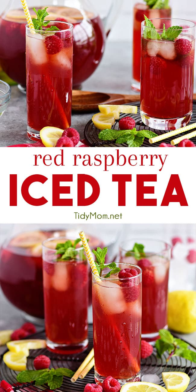 This Red Raspberry Iced Tea is one of summer's most refreshing drinks! With its bright red color and real berry flavor, it beckons you to just slow down, relax and pour yourself a tall cool glass of sweet tea. Print the full recipe at TidyMom.net #icedtea #sweettea #raspberry #drink #summer