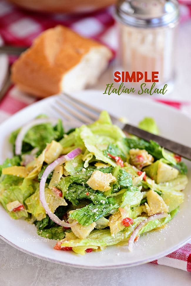 restaurant style simple Italian Salad on a plate