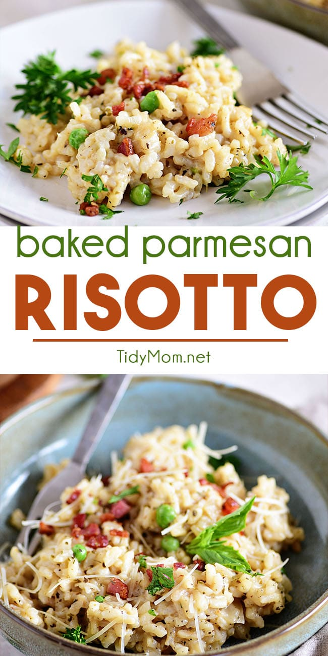 Baked Parmesan Risotto Recipe is creamy, cheesy and oh so easy. This oven-baked version of the favorite Italian rice dish requires hardly any stirring making it convenient enough for any night of the week. Serve as a side or entree. Either way, the whole family is going to fall in love with this recipe. PRINT RECIPE at TidyMom.net #risotto #parmesan #sidedish #italian #recipes #easyrecipe