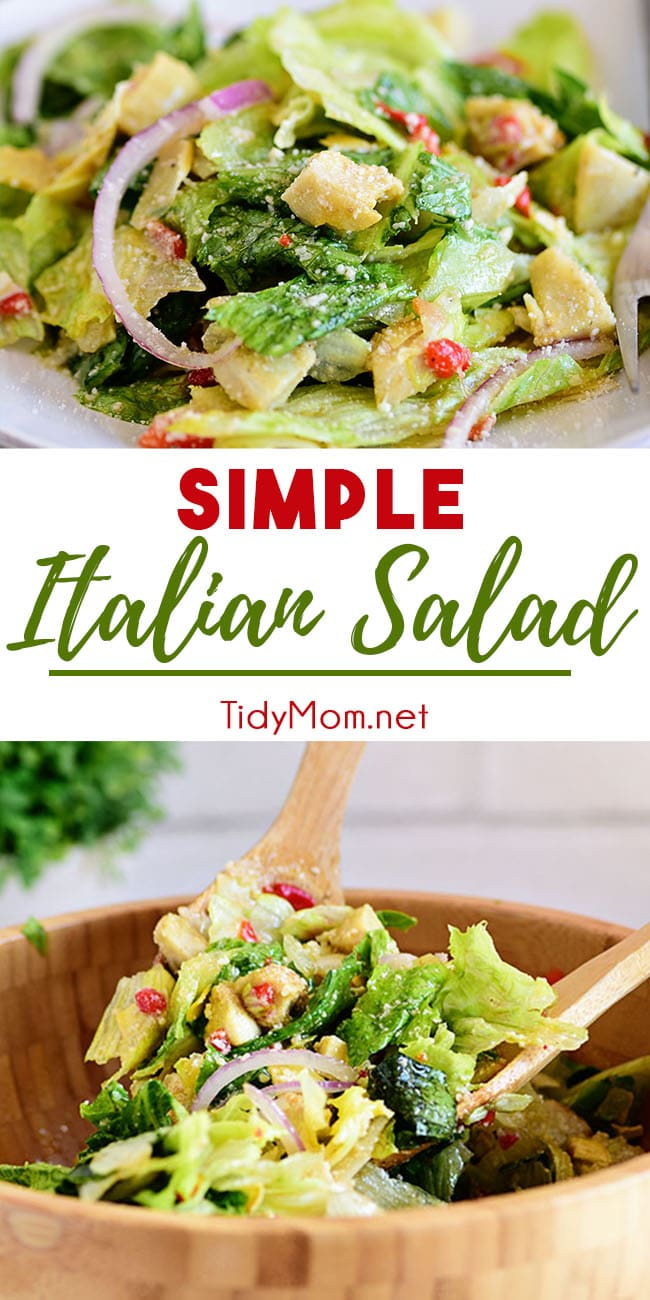 This simple Italian Salad with homemade zesty vinaigrette pairs perfectly with any Italian meal. It's quick and easy and rivals any restaurant. Pair it with cheesy garlic bread to really complete your meal! Print the recipe at TidyMom.net #salad #saladrecipes #saladdressing  #sidesalad #italiansalad #sidedish